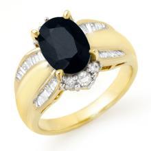 Genuine 3.42 ctw Blue Sapphire & Diamond Ring 14K Yellow Gold - 12911-#83G2R