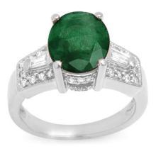 Genuine 4.55 ctw Emerald & Diamond Ring 14K White Gold - 10957-#71T3Z