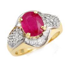 Genuine 3.0 ctw Ruby & Diamond Ring 14K Yellow Gold - 13101-#68A7N