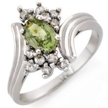 Genuine 1.0 ctw Green Sapphire & Diamond Ring 10K White Gold - 10193-#24T8Z