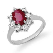 Genuine 2.50 ctw Ruby & Diamond Ring 14K White Gold - 13193-#65N2F