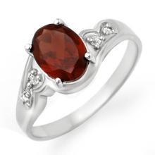 Natural 1.26 ctw Garnet & Diamond Ring 10K White Gold - 12456-#15Y2V