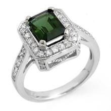 Genuine 2.50 ctw Green Tourmaline & Diamond Ring 14K White Gold - 10319-#64F7M