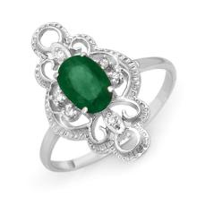 Genuine 0.71 ctw Emerald & Diamond Ring 18K White Gold - 12481-#27V8A