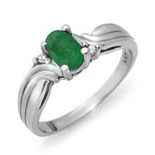 Genuine 0.54 ctw Emerald & Diamond Ring 10K White Gold - 12355-#14K3T