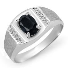 Genuine 2.0 ctw Blue Sapphire Men's Ring 10K White Gold - 12571-#19F8M