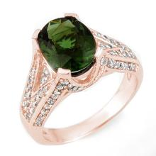 Genuine 4.55 ctw Green Tourmaline & Diamond Ring 14K Rose Gold - 11605-#111M3G
