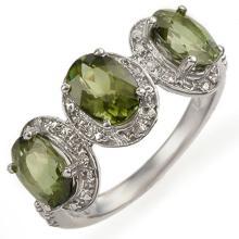 Genuine 3.08 ctw Green Tourmaline & Diamond Ring 10K White Gold - 11053-#39F2M