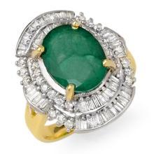 Genuine 5.95 ctw Emerald & Diamond Ring 14K Yellow Gold - 12963-#108K5T