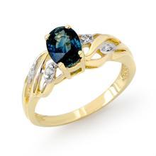 Genuine 1.13 ctw Blue Sapphire & Diamond Ring 10K Yellow Gold - 12965-#14K2T
