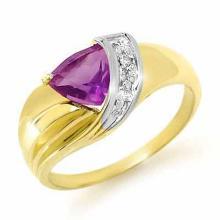 Genuine 1.02 ctw Amethyst & Diamond Ring 10K Yellow Gold - 13215-#15H5W