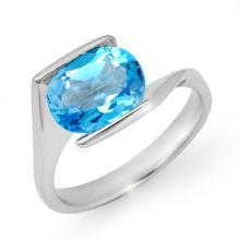 Natural 3.0 ctw Blue Topaz Ring 10K White Gold - 13177-#18P2X