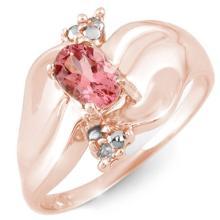 Natural 0.54 ctw Pink Tourmaline & Diamond Ring 10K Rose Gold - 11257-#18Z8P