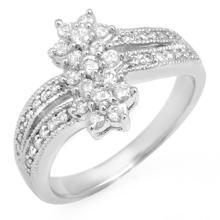 Natural 0.75 ctw Diamond Ring 10K White Gold - 11047-#42V9A