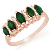 Genuine 0.70 ctw Emerald Ring 10K Rose Gold - 12654-#16P2X
