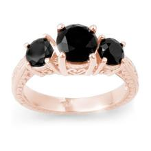 Natural 2.50 ctw Black Diamond Bridal Engagement Ring 14K Rose Gold - 13797-#54X3Y