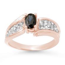 Genuine 1.40 ctw Blue Sapphire & Diamond Ring 14K Rose Gold - 13316-#47K2T