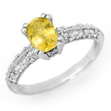Genuine 2.0 ctw Yellow Sapphire & Diamond Ring 14K White Gold - 13940-#45W5K