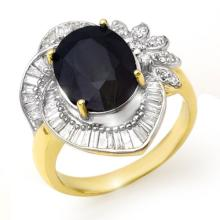 Genuine 5.55 ctw Blue Sapphire & Diamond Ring 14K Yellow Gold - 13058-#108W8K