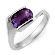Genuine 2.0 ctw Amethyst Ring 10K White Gold - 11184-#19K2T