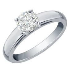 Natural 0.75 ctw Diamond Solitaire Ring 18K White Gold - 12091-#207Y3V