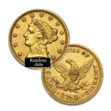 $2.5 Liberty Gold Coin - Quarter Eagles - 1840 to 1907 - Random date  - USJL5357