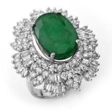 Natural 11.65 ctw Emerald & Diamond Ring 18K White Gold Size 7.5 - #237Z5X