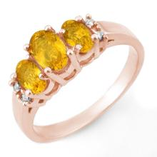 Natural 1.39 ctw Yellow Sapphire & Diamond Ring 14K Rose Gold Size 6 - #23J1K