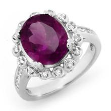 Natural 4.33 ctw Amethyst & Diamond Ring 10K White Gold Size 6.75 - #33M7W