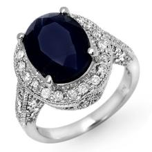 Natural 7.0 ctw Blue Sapphire & Diamond Ring 14K White Gold Size 6.5 - #76N1M