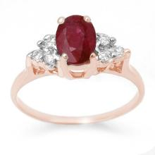 Genuine 1.35 ctw Ruby & Diamond Anniversary Ring 14K Rose Gold Size 5.5 - #18N2M
