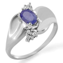 Natural 0.54 ctw Tanzanite & Diamond Anniversary Ring 10K White Gold Size 7 - #14Y1P