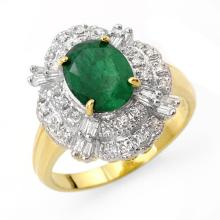 Natural 3.31 ctw Emerald & Diamond Anniversary Ring 14K Yellow Gold Size 7 - #41R5T