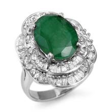 Natural 7.04 ctw Emerald & Diamond Ring 18K White Gold Size 6.5 - #132T6Y