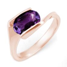 Genuine 2.0 ctw Amethyst Anniversary Ring 10K Rose Gold Size 6.5 - #15X5V