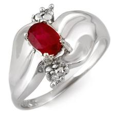 Natural 0.79 ctw Ruby & Diamond Anniversary Ring 18K White Gold Size 7 - #26J7K
