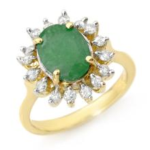 Natural 3.10 ctw Emerald & Diamond Anniversary Ring 10K Yellow Gold Size 7 - #34V8N