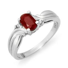 Natural 0.85 ctw Ruby & Diamond Anniversary Ring 10K White Gold Size 6.5 - #12J2K