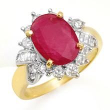 Natural 4.42 ctw Ruby & Diamond Anniversary Ring 14K Yellow Gold Size 6.75 - #56G7H