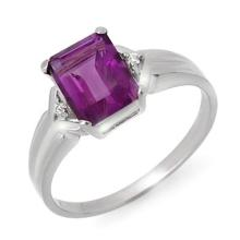 Natural 1.47 ctw Amethyst & Diamond Ring 18K White Gold Size 6.5 - #18W8R