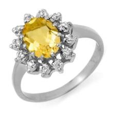 Natural 1.14 ctw Citrine & Diamond Anniversary Ring 14K White Gold Size 6.5 - #22W8R