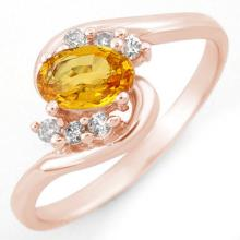Natural 0.70 ctw Yellow Sapphire & Diamond Ring 14K Rose Gold Size 6 - #18T3Y