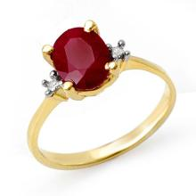 Natural 3.0 ctw Ruby & Diamond Anniversary Ring 14K Yellow Gold Size 6.0 - #14M7W