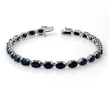 Genuine 17.80 ctw Blue Sapphire Anniversary Bracelet 10K White Gold - #43F9G