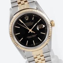 Pre-owned Excellent Condition Authentic Rolex Quickset Men's 18K/Stainless Steel DateJust Black Dial Watch - REF#-289H2M