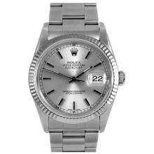 Pre-owned Excellent Condition Authentic Rolex Quickset Men's Stainless Steel DateJust Silver Dial Watch - REF#-290T4K