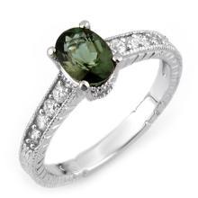 Natural 1.25 ctw Green Tourmaline & Diamond Ring 14K White Gold - 10726-#37G5R