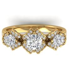 2 CTW Certified Diamond Solitaire Art Deco 3 Stone Ring Band 18K Yellow Gold - 32542-REF#178R3K