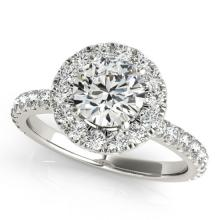 1.25 CTW Certified Diamond Bridal Solitaire Halo Ring 18K White Gold - 26293-REF#124X5Y