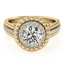 1.15 CTW Certified Diamond Bridal Solitaire Halo Ring 18K Yellow Gold - 26571-REF#174G3M